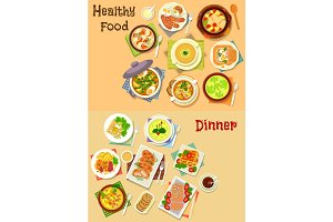 Healthy food for lunch and dinner icon set