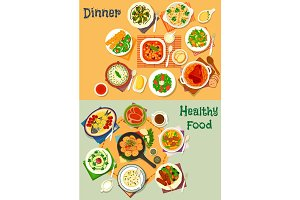 Healthy lunch and dinner food icon set design