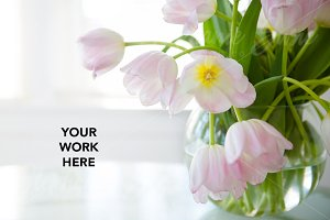 Pink Tulip Styled Stock Photo Mock