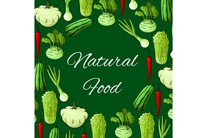 Natural food poster of vector vegetables