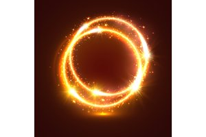 Golden sparkling vector rings, light flash circles