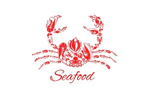 Seafood crab or lobster vector poster