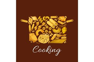 Pasta cooking vector poster of saucepan