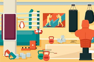 Gym 01 Flat Colorful Illustrations