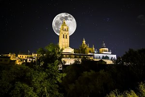 Cathedral on Segovia at night. Spain