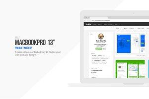 "Flat Macbook Pro 13"" Mockup"