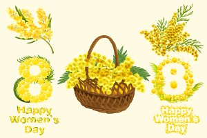 Happy womens day. Yellow mimosa