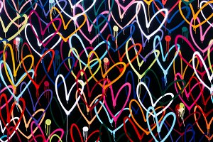 painted hearts on a wall