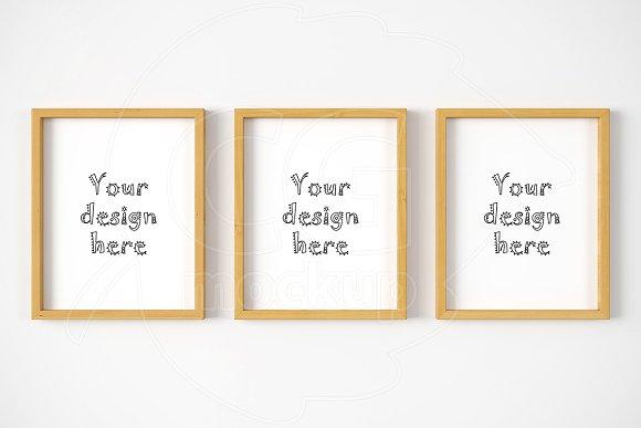 Set x3 wooden frame 8x10 inch mockup ~ Product Mockups ~ Creative Market