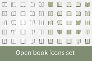 Open book icons set
