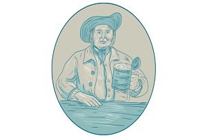 Gentleman Beer Drinker Tankard Oval