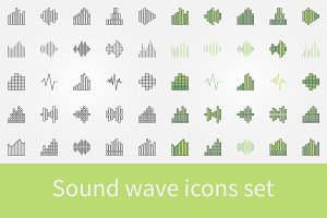 Music sound wave icons set