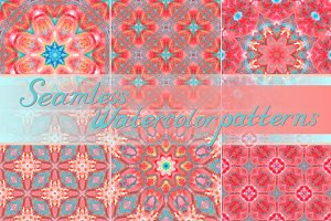 Set of seamless watercolor patterns