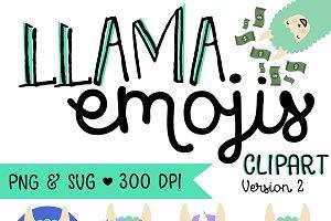 LLAMA EMOJIS V2 - SVG and PNG
