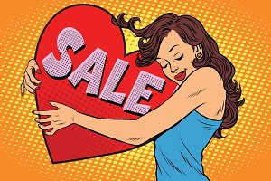 Beautiful young woman hugging sale Valentine heart