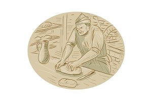 Medieval Baker Kneading Bread