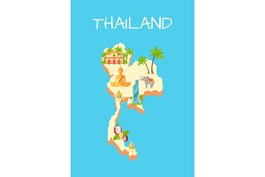 Thailand Island Isolated on Azure Background.