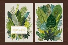 Exotic leaves. Wedding invitation