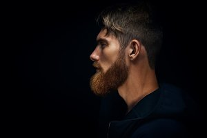 Confident young bearded men