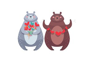 Valentine Bears with Necklace of Hearts, Flowers