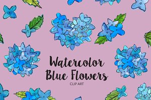 Watercolor Blue Flowers Clip Art