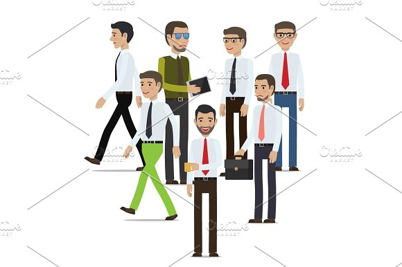 Businessmen Standing Full Length Portrait On White