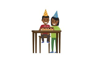 Boy and Girl at Table with Happy Birthday Cake