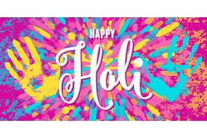 Vector illustration of happy holi festival of colors greeting horizontal banner