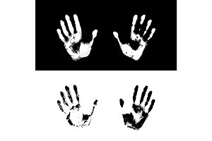 Vector illustration of grunge human handprints