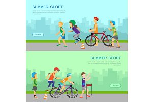 Summer Sport Vector Web Banner in Flat Design