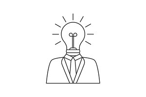 Businessman with lightbulb head line icon