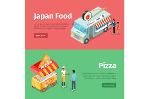 Japan Food and Pizza Mobile Carts with Street Meal