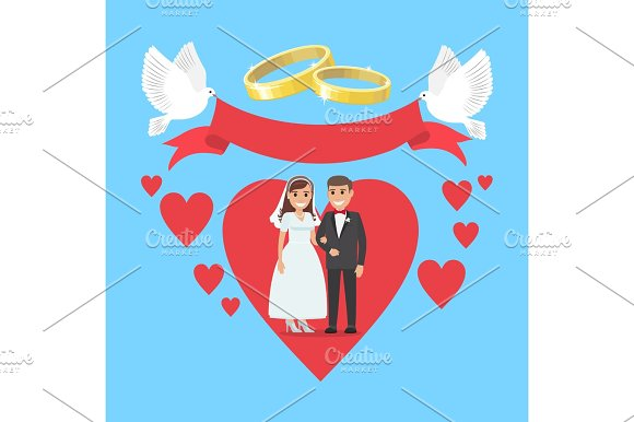 Wedding Day Concept Couple In Ruddy Big Heart