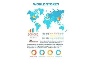 World Stores Conceptual Flat Vector Banner