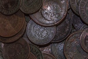 copper coins in oxides