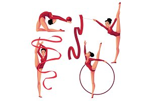 Beautiful girl doing rhythmic gymnastics with ribbon, ball, hoop