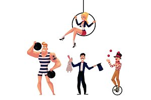 Circus artists - strongman, illusionist, aerial gymnast and juggler