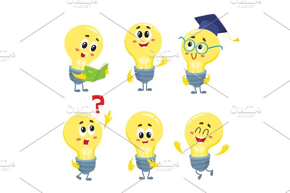 Set Of Cute And Funny Light Bulb Characters