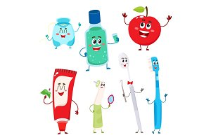 Dental instruments and teeth hygiene items as funny characters