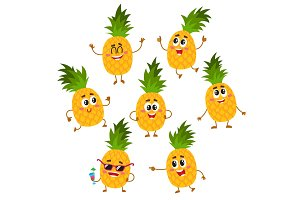 Set of cute and funny pineapple characters with happy faces