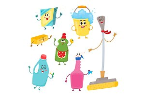 Set of funny house cleaning characters, detergents, bucket, mop, sponge