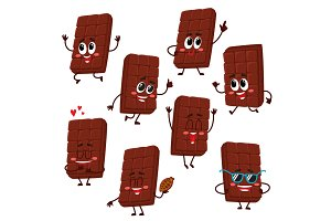 Cute and funny chocolate bar characters showing various emotions