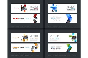 Vector set of modern horizontal website banners with yellow squa