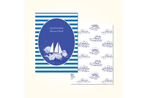 Sea travel invitation card