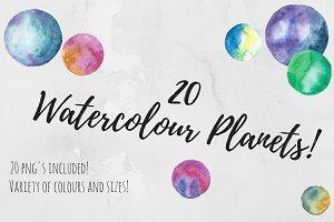 20 Watercolour Planets