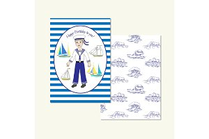 Card with young sailor