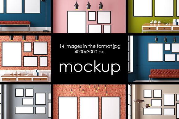 Interior mockup, 14 JPG files - Product Mockups