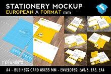 European A-Format Stationery Mockup