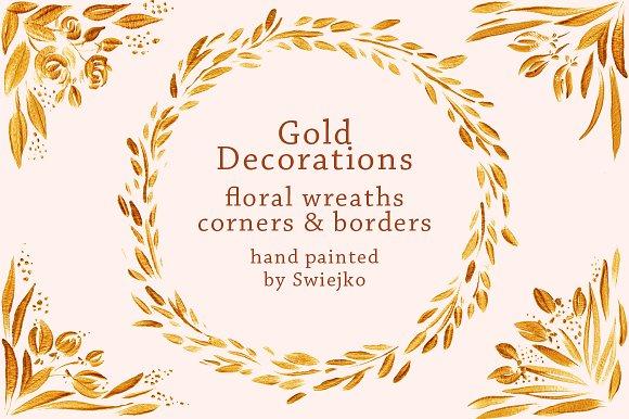 Gold Floral Frames Clipart