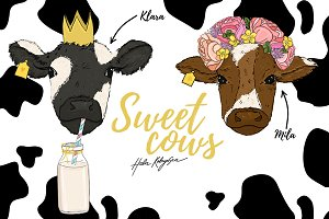 Mila & Klara Sweet Cows illustration